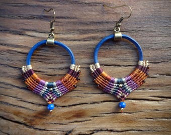 macrame earrings, gipsy boho style, handcrafted earrings, leather earrings, blue leather