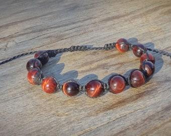 Shamballa macrame bracelet, Red Tiger Eye bracelet