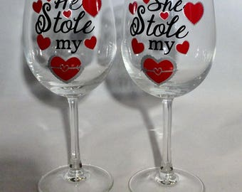2 Pack Valentine's Day Wine Glasses He Stole My Heart She Stole My Heart, Valentine Gift, Wedding, Wedding Shower, Engagement, Party
