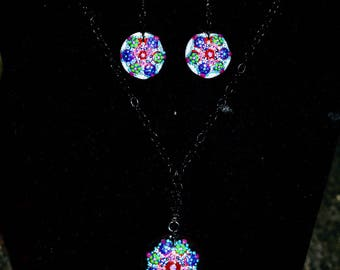 Glass HandPainted Earrings and Neckless Set
