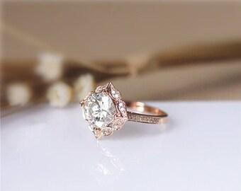 14K Gold Ring /1.70CT Cushion Simulated Diamond Engagement Ring/ Moissanite Engagement Ring/ Art Deco Ring/ Wedding Ring/ Rose Gold Ring