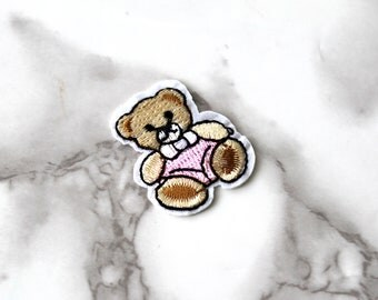 ONE Cute Pink Teddy Bear Iron On Patch, Baby Shower Fabric Patch, Embroidered Patch, Free Spirit, Birthday Gift For Her Under 5, It's A Girl