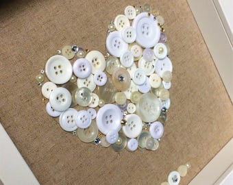 Beautiful Handcrafted Heart Button Frame - Anniversary, Wedding, Birthday, Mothers Day, Engagement.