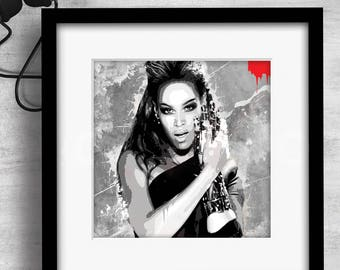 Print / Beyonce / Art / Music / Graphic design / Design / Prints / Contemporary / Wall art / Cool / Icons / Gift