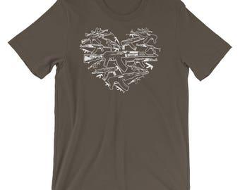 American Patriot Gun Lover 2nd Amendment Gun Rights Heart Shaped AK-47 Short-Sleeve Unisex T-Shirt