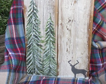"Reclaimed Barnwood Painted Sign ""Lone Buck Among The Evergreen's"""
