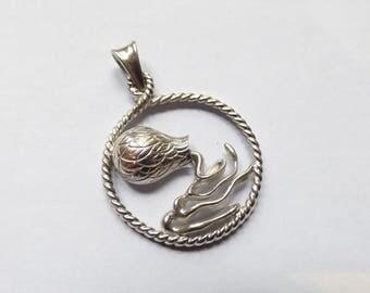 Smooth and engraved silver Aquarius Zodiac pendant
