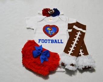 kansas jayhawks college football baby girl outfit - baby girl kansas jayhawks football outfit - kansas jayhawks football baby girl