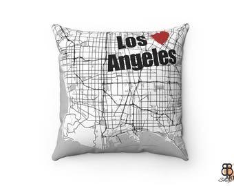 Los Angeles Pillow, Los Angeles Decor, Los Angeles Throw Pillow, Los Angeles Map Art, Los Angeles City Map, Los Angeles Map Cushion, LA Gift