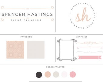 Pre-made elegant and feminine logo design kit with different branding options