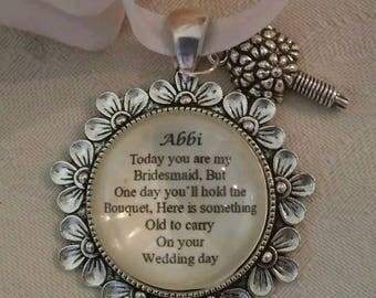 Custom made Bridesmaid BRIDAL Wedding Bride BOUQUET Daisy CHARM Personalised Something Old Thank you keepsake gift