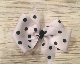 "4"" black and white polka dot hair bow"