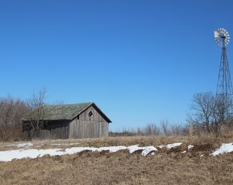 Barn Photography, Winter Photo, Old Barn, Windmill, Farm, Digital Download, Barn Print, Wall Decor, Home Decor, Rustic, Photo Gift, Wall Art