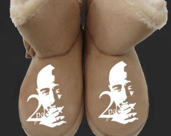 tupac womens slippers xmas gift hip hop custom personalised footwear ladies shakur 2pac gangster