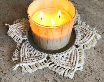 Large Macrame 3 Wick Candle Holder/Centerpiece/Wall Hanging, Woven Wall Hanging, Boho Hippie Tapestry, Dream Catcher, Table Decor