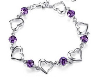 Bracelet with silver heart and Amethyst Crystal set rhodium plated high quality