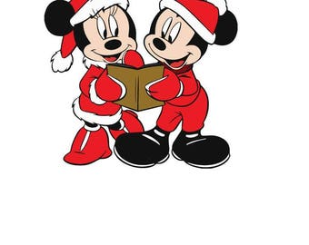 Mickey and Minnie caroling christmas SVG File