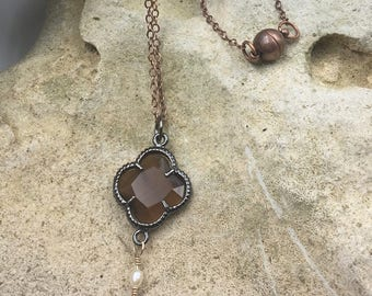 Copper Faceted and Quartz Teardrop Necklace
