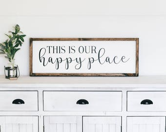 This is Our Happy Place | Wooden Farmhouse Sign