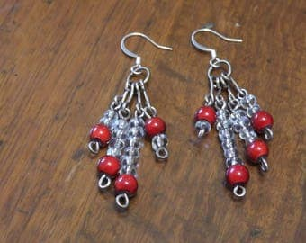 Colourful red cluster earrings