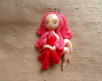 Girl Figurine Jewelry, Cute Girl jewelry, Girl With Red Dress, Clay Figurine GIrl, Clay Chibi Girl, Cute Clay Charm, Polymer Clay Charm