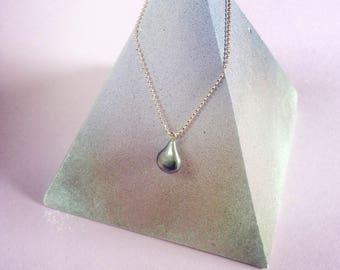 Silver oxidised teardrop pendant