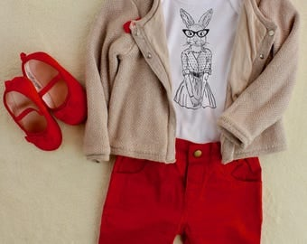 Hipster Bunny Baby Bodysuit, Cute Baby Clothes, Dad Gift From Baby, Baby Girl Onesie, Funny Baby Bodysuit, Fathers Day Gift, New Baby Gift