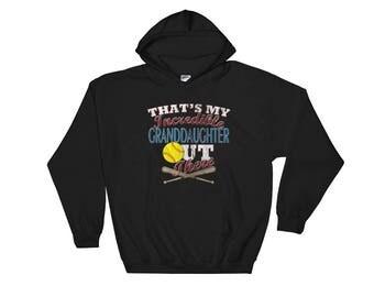 Softball Grandma Hoodie-Softball Grandpa Hoodie-Softball Grandparent-Softball Grandma Gift-Softball Grandpa Gift-Softball Hooded Sweatshirt