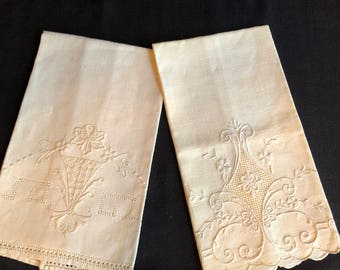 Two Coordinating Ivory Linen Tea Towels
