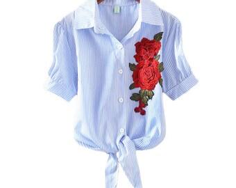 Embroidery T Shirt Women Tshirt Floral Striped T-Shirt Woman Summer Casual Cotton Slim Women's kimono Tops Female Clothing
