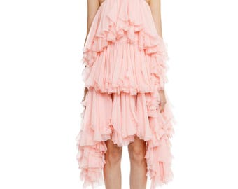 Asymmetrical creppon dress with rich ruffles