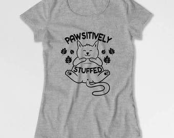 Funny Thanksgiving T Shirt Cat Lover Gift Fall TShirt Animal Lover Shirt Cat Clothing Thanksgiving Outfit Turkey Day Ladies Tee TEP-190