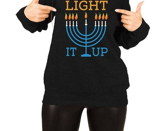 Hanukkah Sweater Holiday Pullover Chanukah Jewish Clothing Holiday Present For Her Israel Clothes Off The Shoulder Slouchy Sweatshirt TEP512