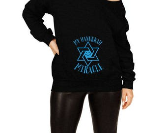 Hanukkah Pregnancy Sweater Birth Announcement New Baby Gifts For Chanukah Maternity Reveal Off The Shoulder Slouchy Sweatshirt TEP-513