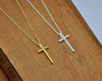 Cross Necklace, Dainty Cross Necklace in Gold or Silver, Simple Cross Necklace, Sterling Silver Cross Pendant Necklace, Christmas Gift
