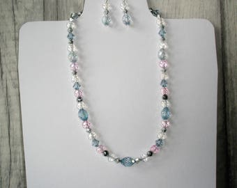 Delicate Blue and Pink Necklace & Earrings
