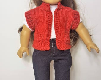 "Red Knit Doll Vest - Hand-made to fit like American Girl Doll Clothes - 18"" Doll Clothes - Knit Doll Clothes"