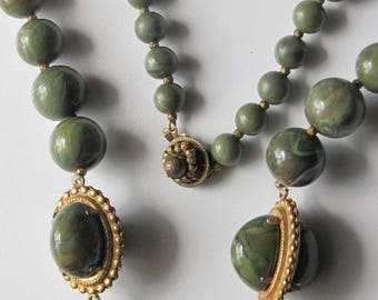 Vintage signed MIRIAM HASKELL necklace and earrings set 1960s beaded green