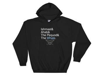 Helvetica Moby Dick Melville  Hooded Sweatshirt