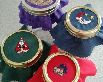 Embroidered Christmas Jar Toppers