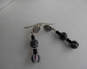 Black and White Spiral Dangle Earrings