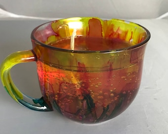 "Scented Gel Candle, Alcohol Ink Design, Autumn Scent, 3.5""H x 4.5 Diameter, Cup Shape"