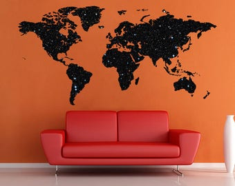 School wall decal etsy space stars art world map decal world map vinyl decal large worldmap print office wall decals publicscrutiny Choice Image