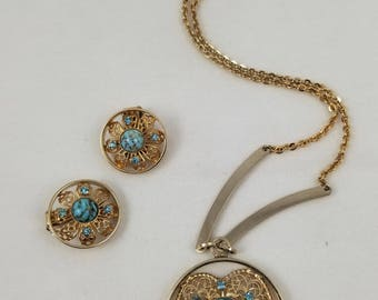Goldtone, Aquamarine Color Crystal, Turquoise Necklace & Clip-on Earring Set