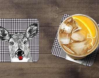 Deer Coaster Set (4), Deer Coasters, Farmhouse Dinner Table, Coaster Set, Bar Coasters, Farmhouse Rustic Decor, Bring Fun to Your Kitchen.