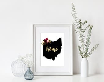 Ohio State Printable Art - Boho - Instant Download