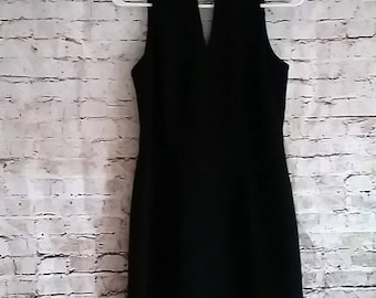 Vintage Keyhole Choker Sheath dress Size 3/4 Cocktail Black Halter Knee Dawn Joy