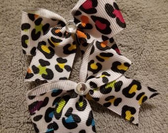 Rainbow leopard dog bows x2