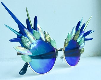 Spiked Sunglasses - Peacock Metallic Mirrored Sunglasses - Iridescent & Shatter rhinestones - Round sunglasses - Iridescent Sunglasses