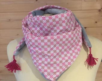 Scarf / kids gray, and pink scarf, Snood, child, fleece, cotton